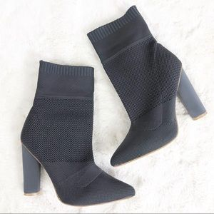 Gray Pointed Toe Sock Boots Size 8